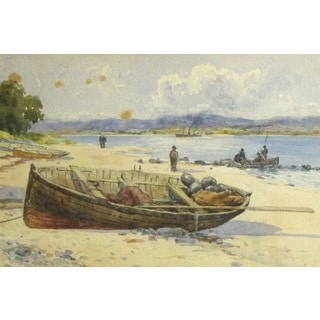 David Small 'A Fishing Boart Onshore' Oil on Canvas Art