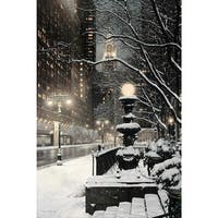 New York City on a Snowy Winter Night' Oil on Canvas Art