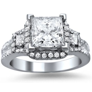 Noori 18k White Gold 1 3/5ct TDW Princess Cut, Baguette and Round-cut Diamond Engagement Ring