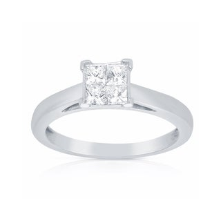 Eloquence 14k White Gold 1/2ct TDW Princess-cut Diamond Engagement Ring