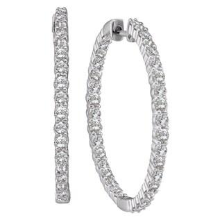 Eloquence 14k White Gold 1ct TDW Diamond Hoop Earrings (H-I, I1-I2)