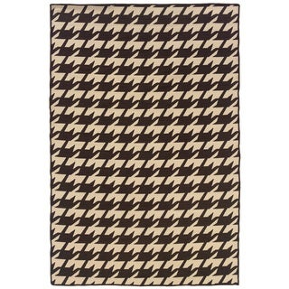 Linon Foundation Brown/ Beige Houndstooth Reversible Wool Rug (5' x 8')