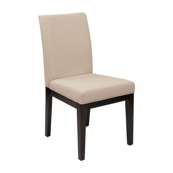 Parsons Cream/ Espresso Upholstered Armless Chair