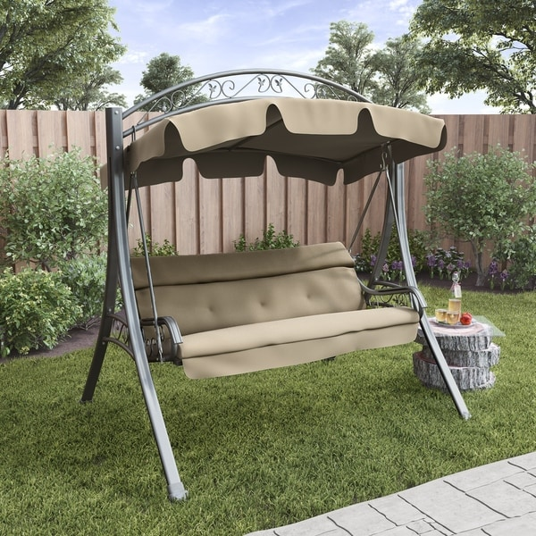 CorLiving Nantucket Beige Arched Canopy Patio Swing - Shop CorLiving Nantucket Beige Arched Canopy Patio Swing - Free