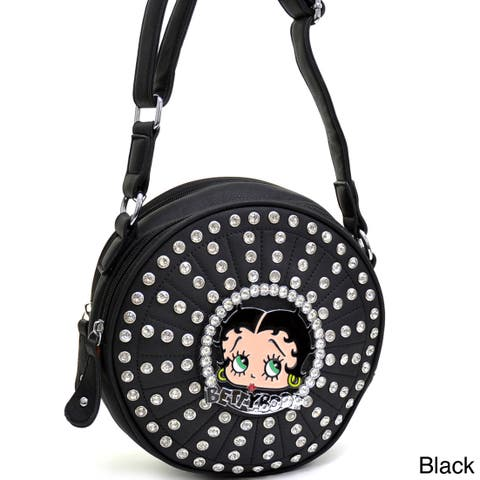 Betty Boop Rhinestone and Studded Cylinder Messenger Bag