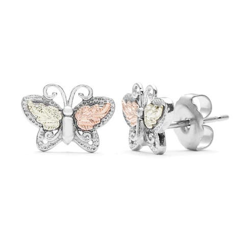 Black Hills Gold and Silver Butterfly Stud Earrings