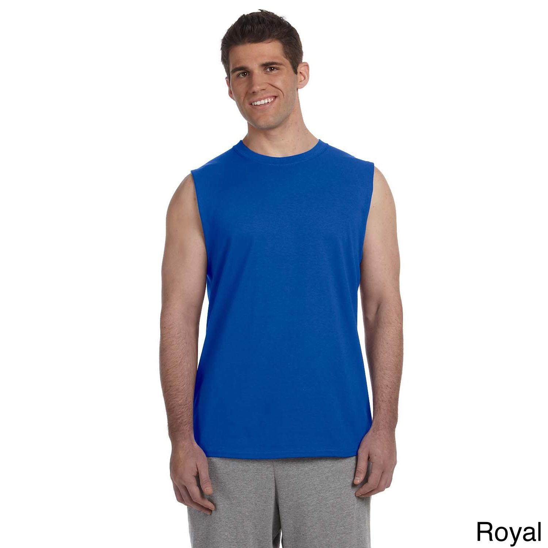 Gildan Gildan Mens Ultra Cotton Sleeveless T shirt Blue Size XXL