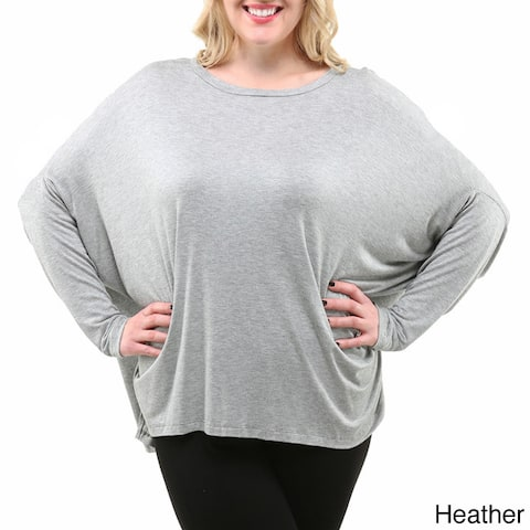 24/7 Comfort Apparel Women's Plus Size Oversized Long Sleeve Dolman Top