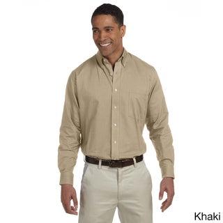 Men's Long-sleeve Wrinkle-resistant Oxford Shirt (Option: S,KHAKI)