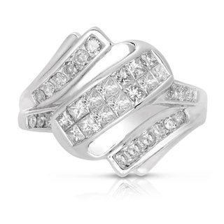 Eloquence 14k White Gold 1ct TWD Princess-cut White Diamond Cocktail Ring (G-H, I1-I2)