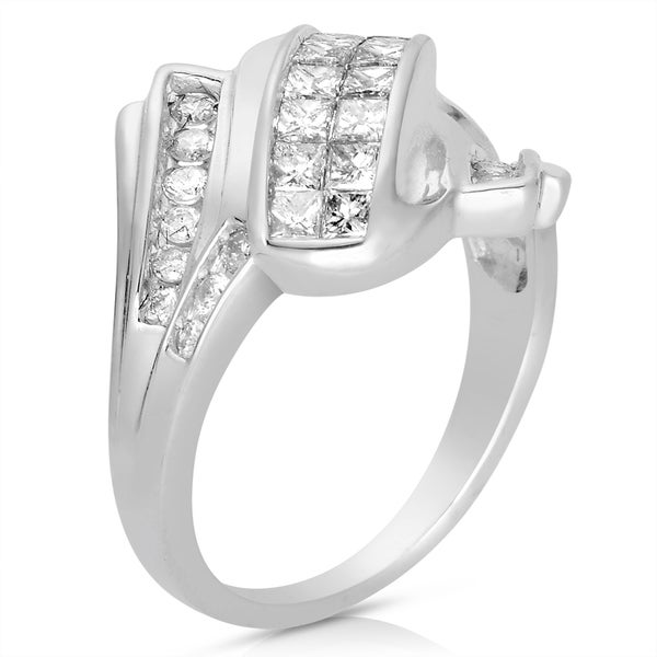 Eloquence 14k White Gold 1ct TWD Princess-cut White Diamond Cocktail Ring