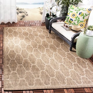 Safavieh Courtyard Trellis Black/ Beige Indoor/ Outdoor Rug (8' x 11'2)