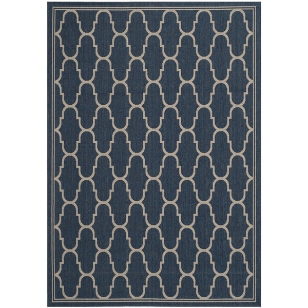 Safavieh Courtyard Trellis Navy/ Beige Indoor/ Outdoor Rug - 8' x 11'2