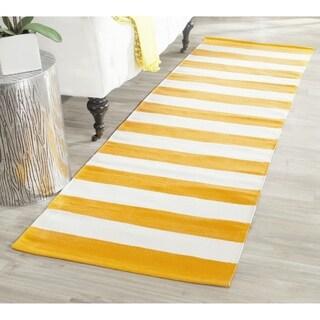 Safavieh Hand-woven Montauk Yellow/ White Cotton Rug (2'3 x 7')