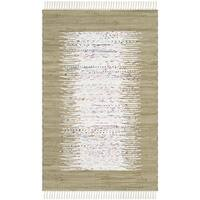 "Safavieh Hand-woven Montauk Ivory/ Olive Cotton Rug - 2'6"" x 4'"
