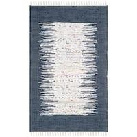 Safavieh Hand-woven Montauk Ivory/ Navy Cotton Rug - 2'6 x 4'