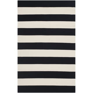 Safavieh Hand-woven Montauk Black/ White Cotton Rug (2'6 x 4')