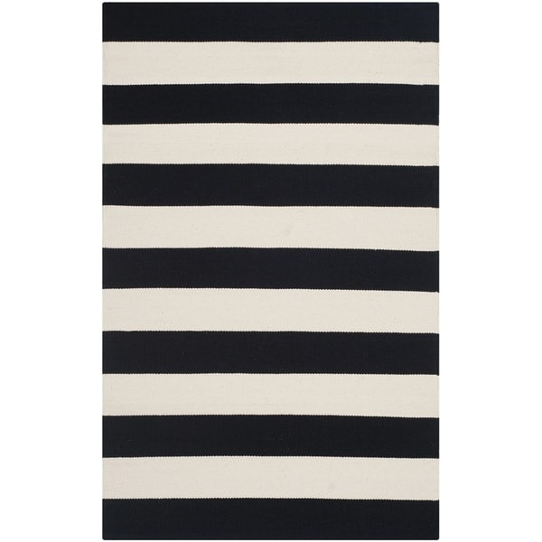 "Safavieh Montauk Handmade Caspian Flatweave Black/ Ivory Stripe Cotton Rug - 2'6"" x 4'"