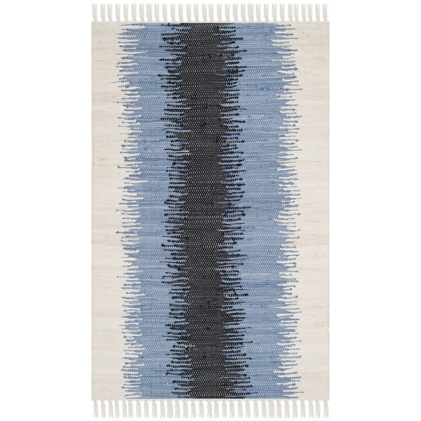 Safavieh Hand-woven Montauk Grey/ Black Cotton Rug - 2'6 x 4'