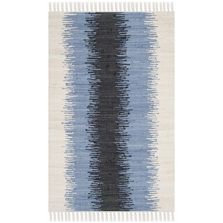 Safavieh Hand-woven Montauk Grey/ Black Cotton Rug (2'6 x 4')