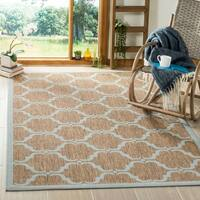 Safavieh Courtyard Moroccan Brown/ Aqua Indoor/ Outdoor Rug - 4' x 6'