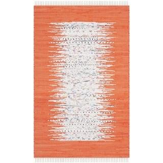 Safavieh Hand-woven Montauk Ivory/ Orange Cotton Rug (2'6 x 4')