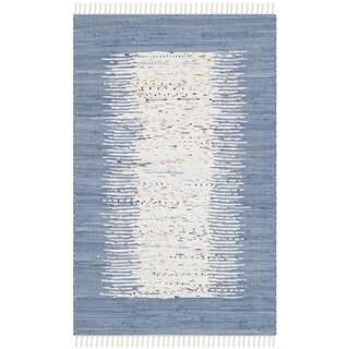 Safavieh Hand-woven Montauk Ivory/ Dark Blue Cotton Rug (2'6 x 4')