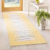 "Safavieh Montauk Hand-Woven Flatweave Ivory/ Yellow Border Cotton Tassel Area Rug - 2'3"" x 7'"