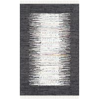 Safavieh Hand-woven Montauk Ivory/ Black Cotton Rug - 2'6 x 4'