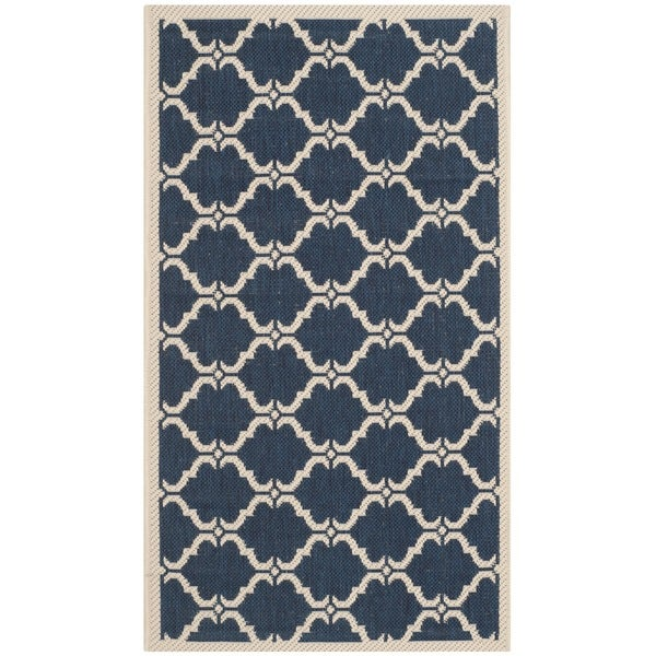 Safavieh Courtyard Moroccan Navy/ Beige Indoor/ Outdoor Rug - 2' x 3'7