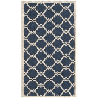 Safavieh Indoor/ Outdoor Moroccan Courtyard Navy/ Beige Rug (2' x 3'7)