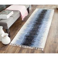 Safavieh Hand-woven Montauk Grey/ Black Cotton Rug - 2'3 x 7'