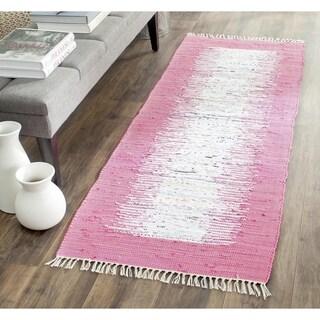 Safavieh Hand-woven Montauk Ivory/ Pink Cotton Rug (2'3 x 7')