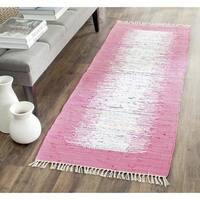 Safavieh Hand-woven Montauk Ivory/ Pink Cotton Rug - 2'3 x 7'