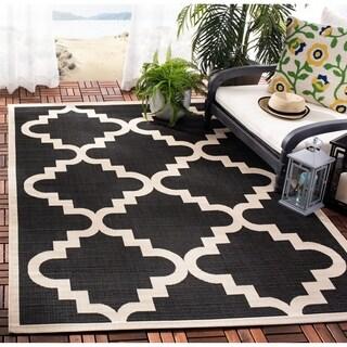 Safavieh Courtyard Moroccan Black/ Beige Indoor/ Outdoor Rug (8' x 11'2)