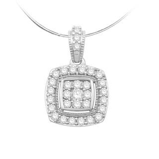 Eloquence 10k White Gold 1/2ct TDW Diamond Composite Pendant (H-I, I1-I2)