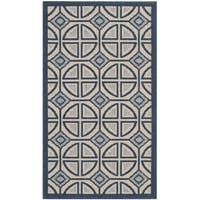 Safavieh Indoor/ Outdoor Courtyard Beige/ Navy Rug - 2'7 x 5'