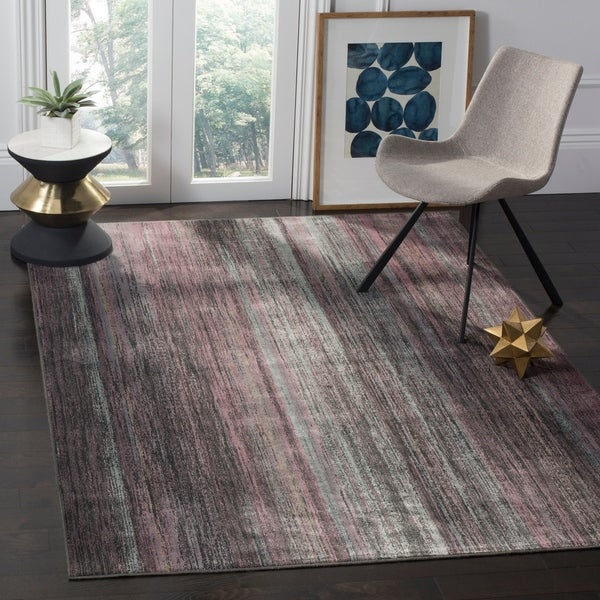 Safavieh Vintage Charcoal/ Multi Abstract Distressed Silky Viscose Rug - 8' x 11'2