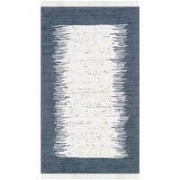 Safavieh Hand-woven Montauk Ivory/ Navy Cotton Rug (3' x 5')