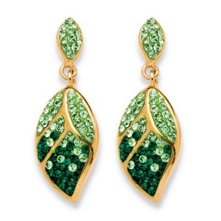 Pave Crystal Green Leaf Drop Earrings MADE WITH SWAROVSKI ELEMENTS in Yellow Gold Tone Col