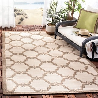 Safavieh Courtyard Moroccan Beige/ Brown Indoor/ Outdoor Rug (5'3 x 7'7)