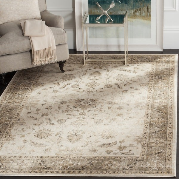 "Safavieh Vintage Oriental Stone/ Mouse Brown Distressed Silky Viscose Rug - 7'6"" x 10'6"""