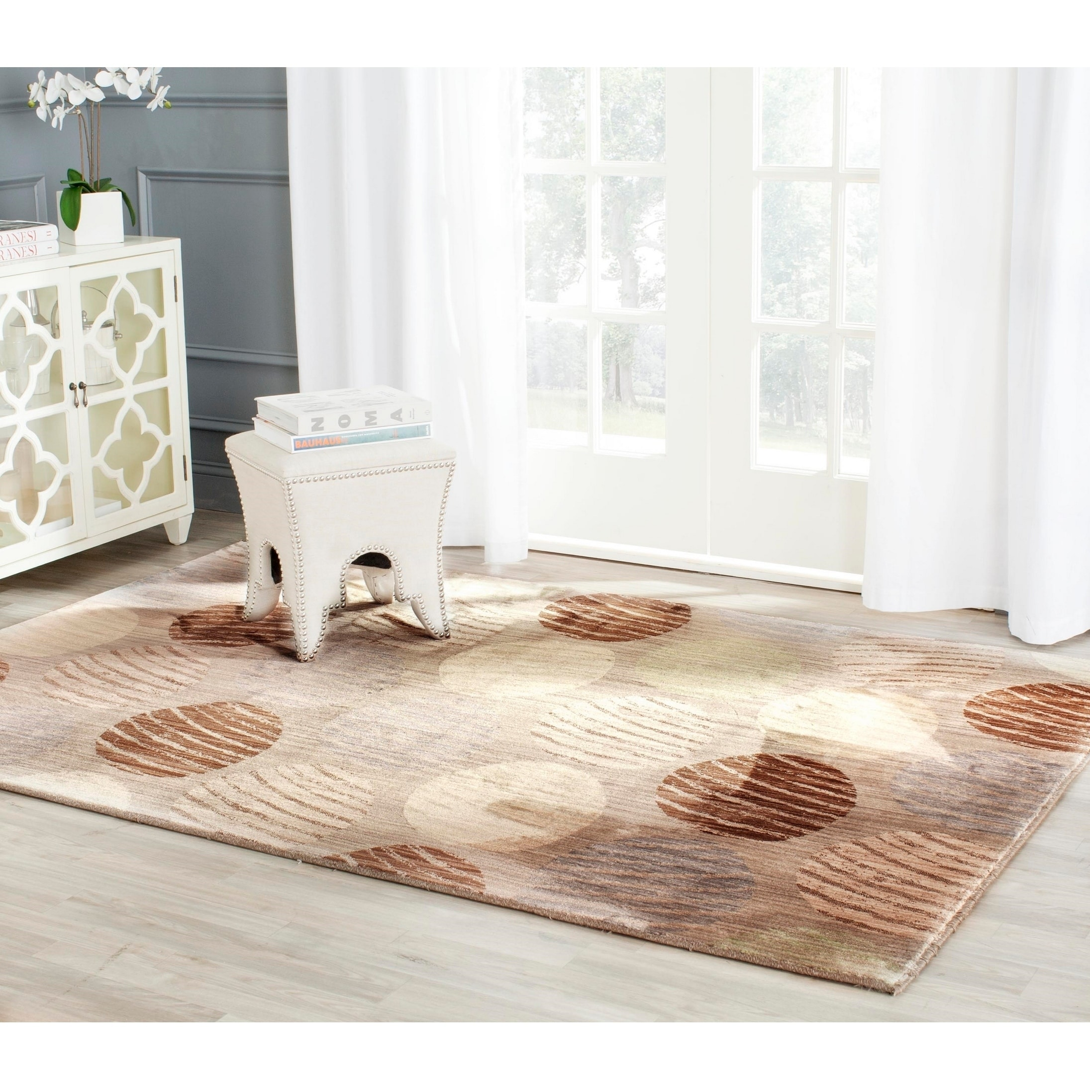 Safavieh Infinity Taupe/ Beige Polyester Rug (5'1 x 7'6) ...