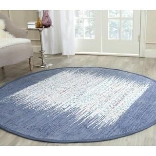 Safavieh Hand-woven Montauk Ivory/ Dark Blue Cotton Rug (6' Round)