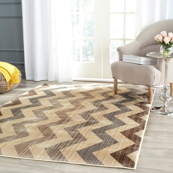Safavieh Infinity Yellow/ Brown Polyester Rug (9' x 12') - 9' x 12'