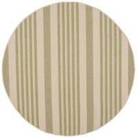 Safavieh Courtyard Stripe Beige/ Sweet Pea Indoor/ Outdoor Rug - 5' Round