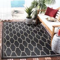 Safavieh Courtyard Trellis Black/ Beige Indoor/ Outdoor Rug (5'3 x 7'7)