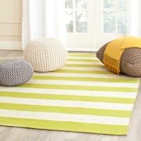 Safavieh Hand-woven Montauk Green/ White Cotton Rug - 3' x 5'