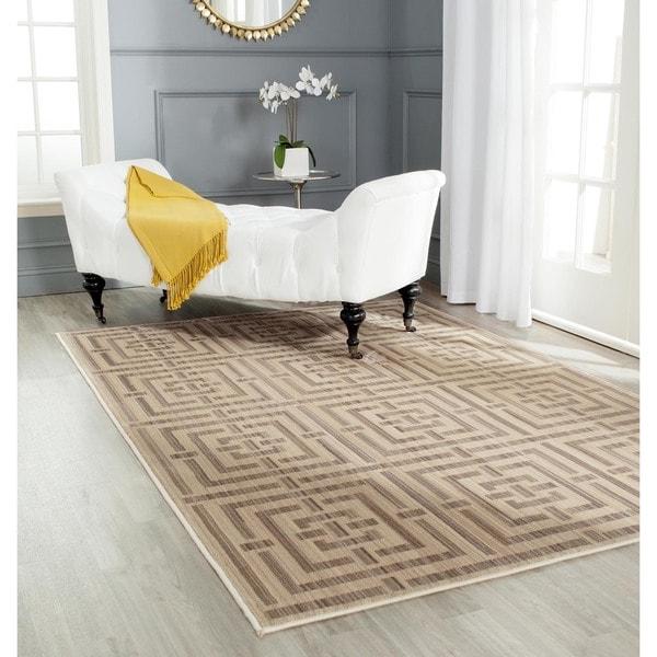 Safavieh Infinity Modern Yellow/ Taupe Polyester Rug - 9' x 12'