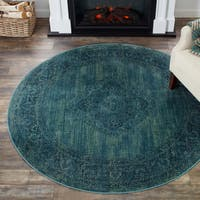 Safavieh Vintage Oriental Turquoise Distressed Silky Viscose Rug - 6' x 6' Round